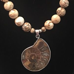 Ammonite Shell Pendant with Necklace